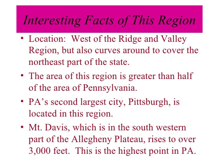 Regions Of Pennsylvania - Facts about the west region