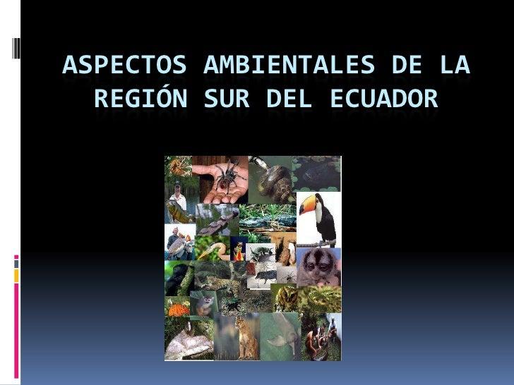 ASPECTOS AMBIENTALES DE LA REGIÓN SUR DEL ECUADOR<br />