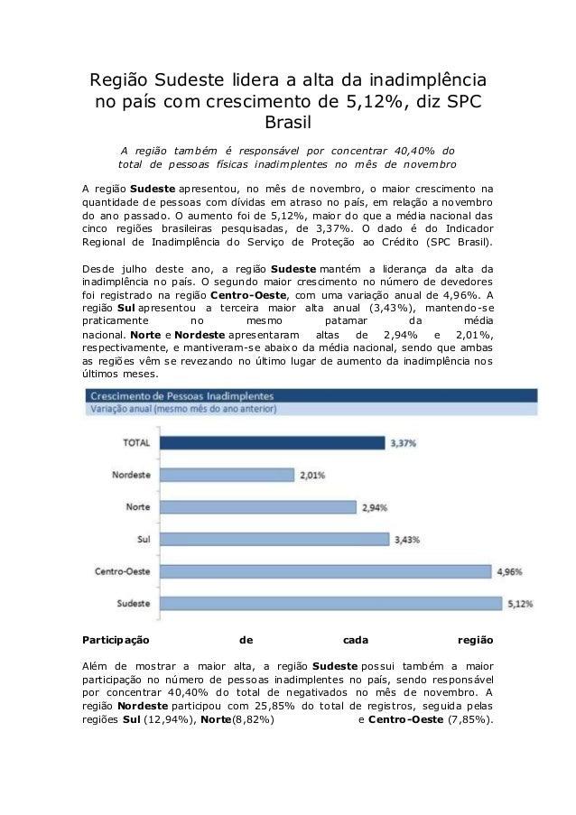 Região Sudeste lidera a alta da inadimplência no país com crescimento de 5,12%, diz SPC Brasil A região também é responsáv...