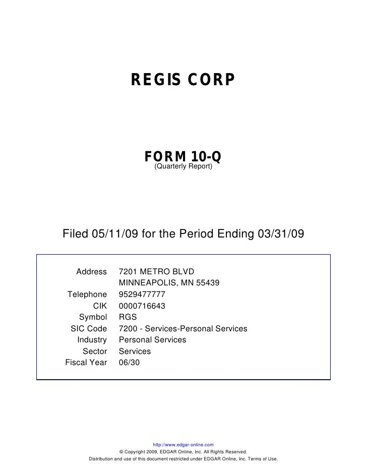 REGIS CORP                                   FORM Report)10-Q                                 (Quarterly     Filed 05/11/0...