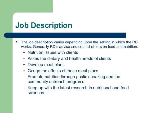 Dietitian Job Description Dietitian Job Description Dietitian Job