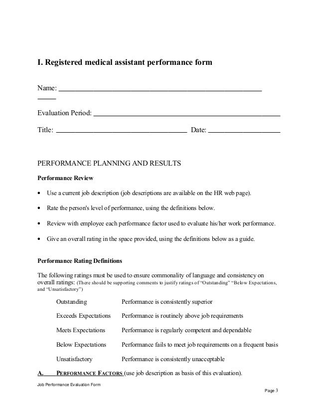 Registered medical assistant performance appraisal