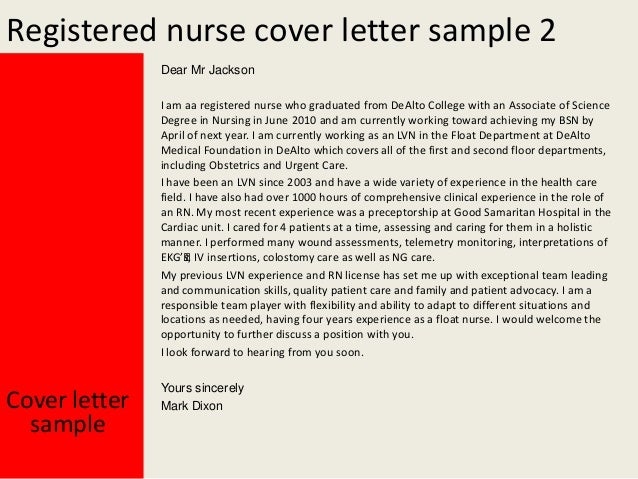 Registered nurse cover letter – Sample Registered Nurse Cover Letter