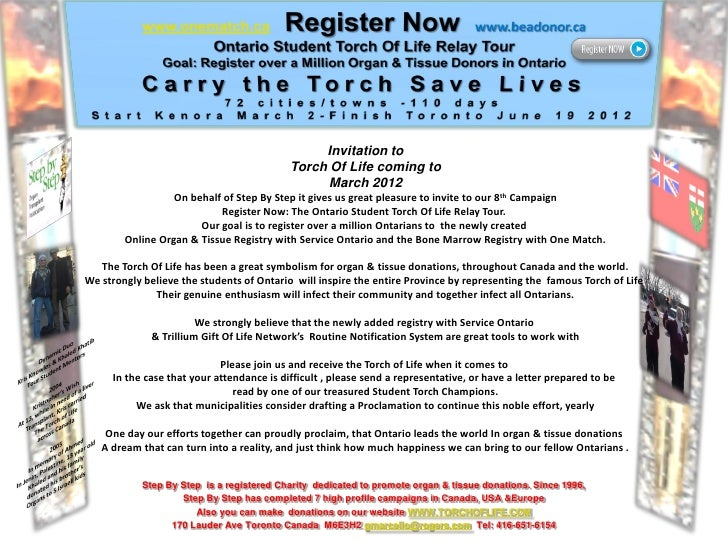 Invitation to                                           Torch Of Life coming to                                           ...