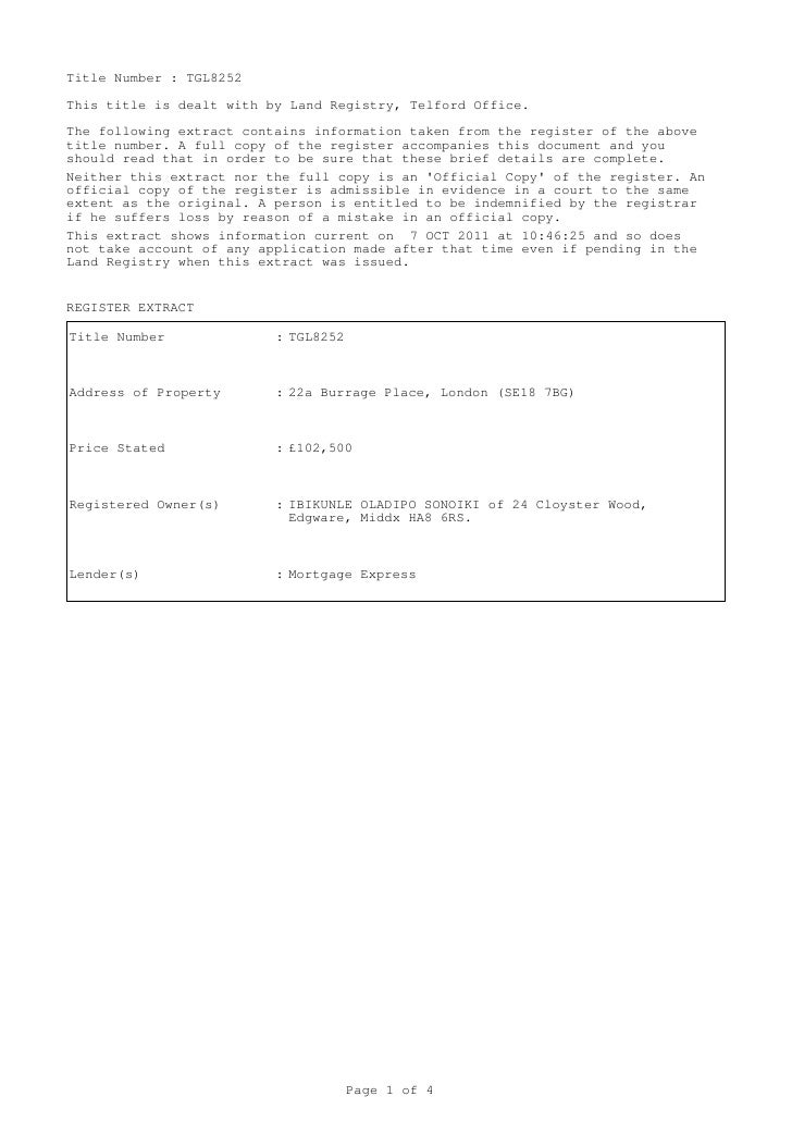 Title Number : TGL8252This title is dealt with by Land Registry, Telford Office.The following extract contains information...