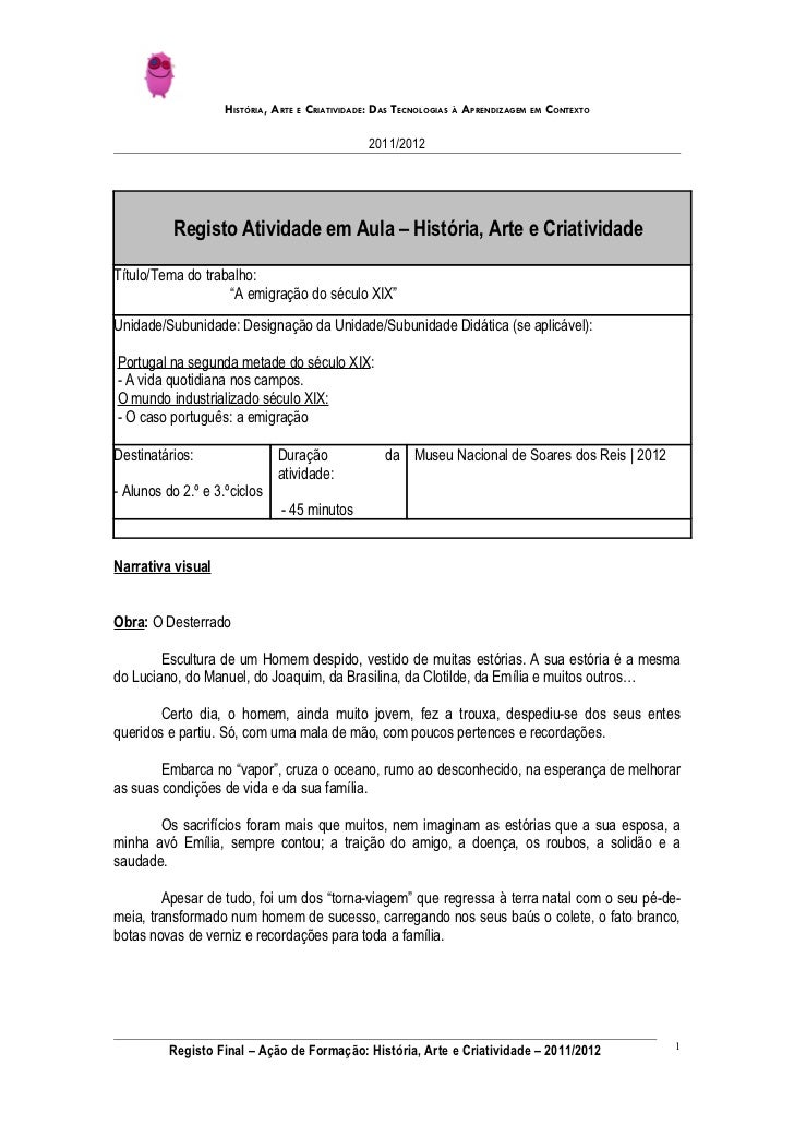 HISTÓRIA, ARTE E CRIATIVIDADE: DAS TECNOLOGIAS À APRENDIZAGEM EM CONTEXTO                                                2...