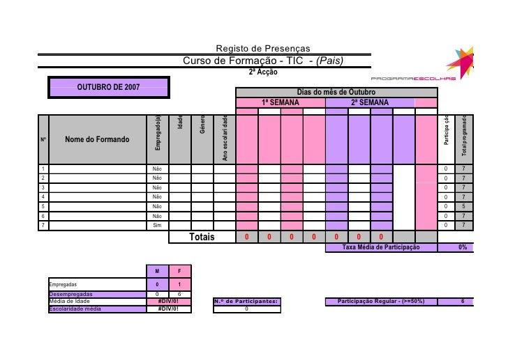 Registo de Presenças                                                         Curso de Formação - TIC - (Pais)             ...