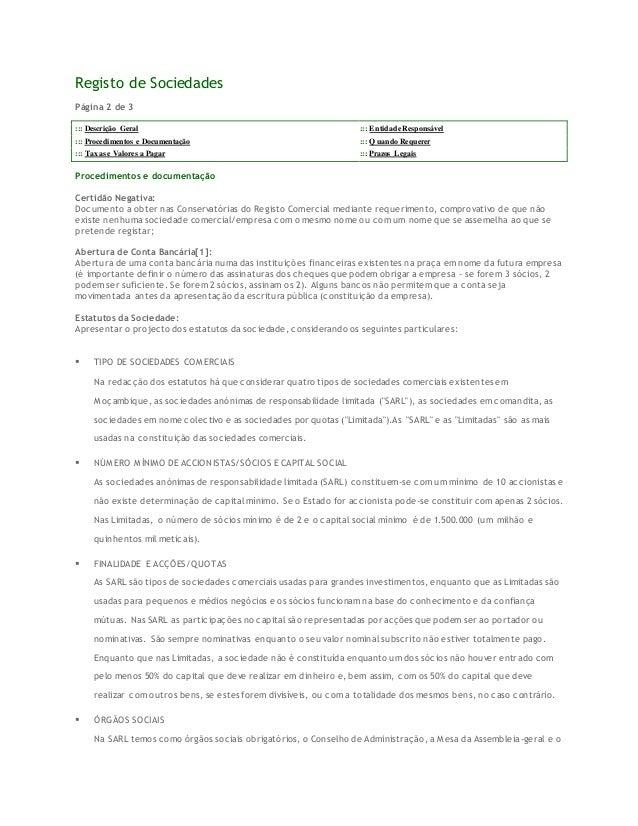 Registo de Sociedades  Página 2 de 3  ::: Descrição Geral ::: Entidade Responsável  ::: Procedimentos e Documentação ::: Q...