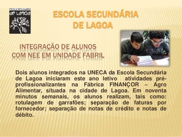 ESCOLA SECUNDÁRIA                 DE LAGOA  INTEGRAÇÃO DE ALUNOSCOM NEE EM UNIDADE FABRIL Dois alunos integrados na UNECA ...