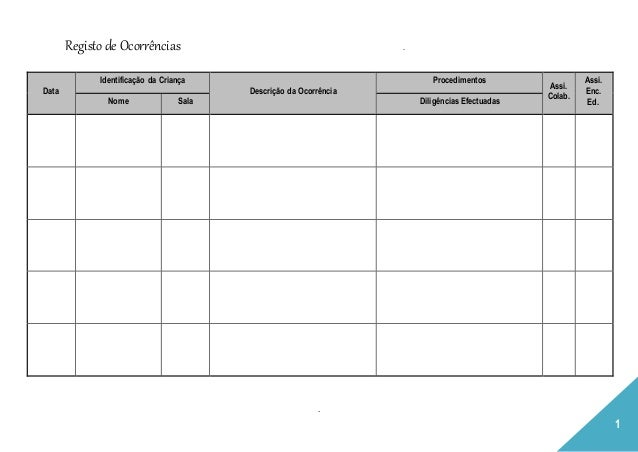 Registo de Ocorrências . . 1 Data Identificação da Criança Descrição da Ocorrência Procedimentos Assi. Colab. Assi. Enc. E...