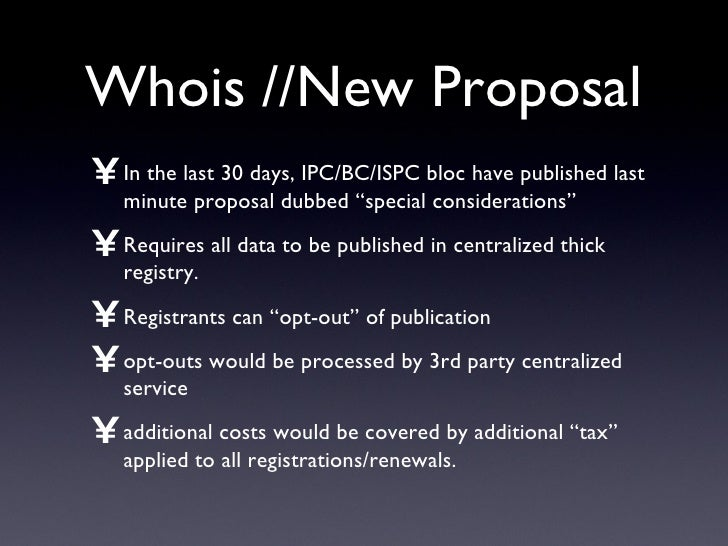 """Whois //New Proposal <ul><li>In the last 30 days, IPC/BC/ISPC bloc have published last minute proposal dubbed """"special con..."""