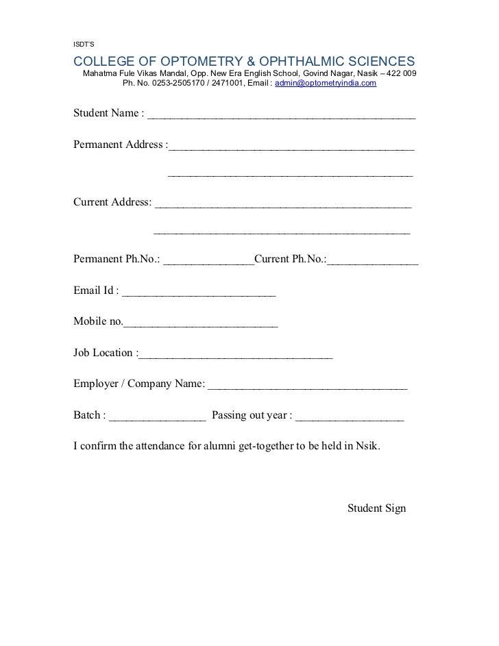 Registration Confirmation Form For Alumni Get Together