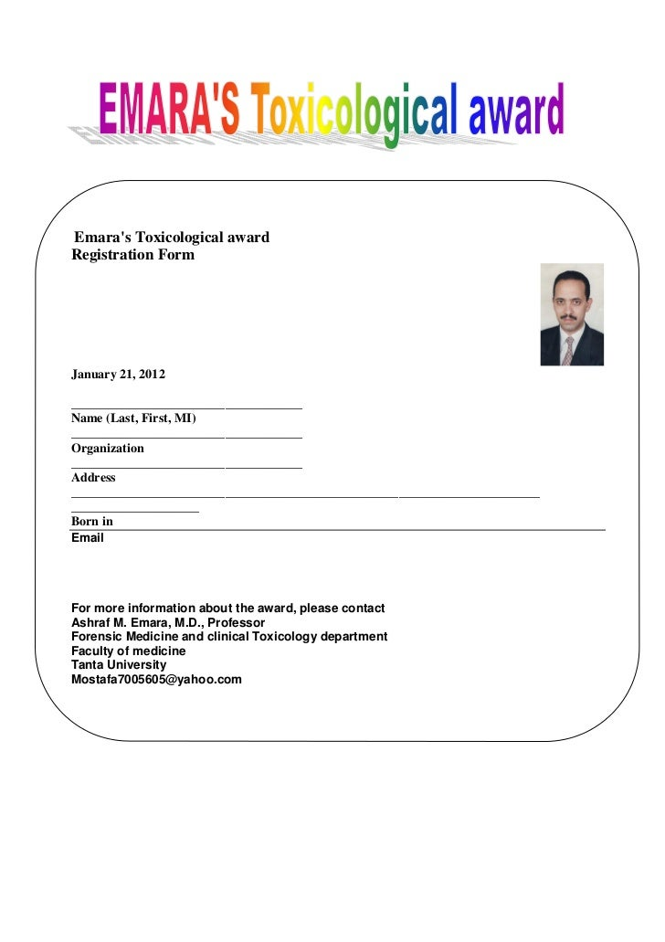 Emaras Toxicological awardRegistration FormJanuary 21, 2012____________________________________Name (Last, First, MI)_____...