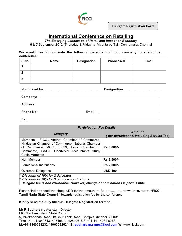 Registration form of international conference on retailing for Sample workshop registration form template