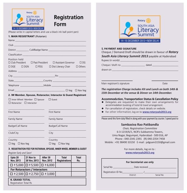 Registration form for South Asia Literacy Summitt