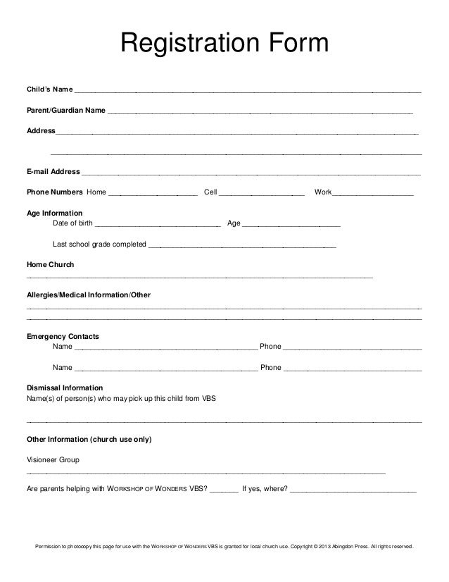 Registration Form Childu0027s Name  New Customer Registration Form Template