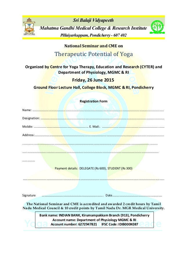 "Registration form for the National seminar cum CME on ""Therapeutic Po…"