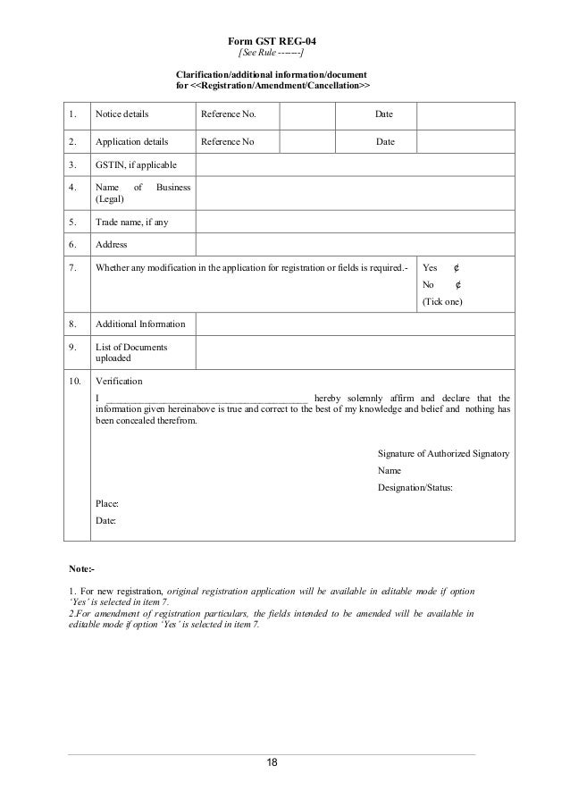 Registration Forms As Per Gst Rules