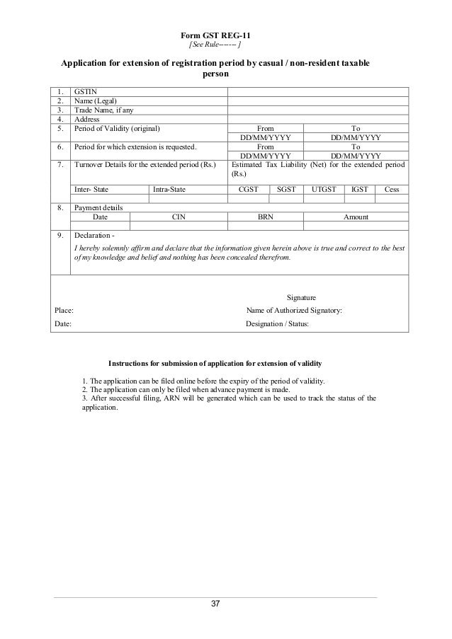 Registration Forms As Per Gst Rules, 2017