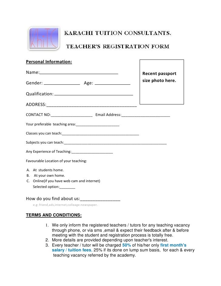 Registration Form Teacher