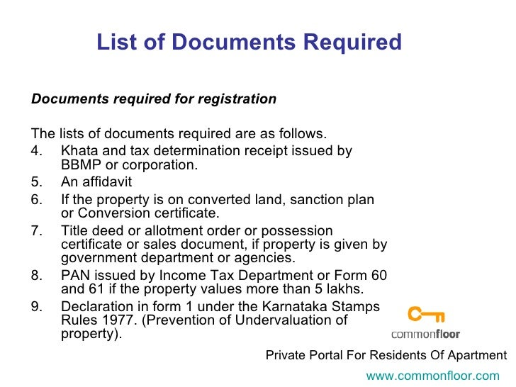registration of property With documents required property registration