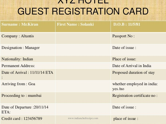 Hotel Registration Card 11 Unbelievable Facts About Hotel
