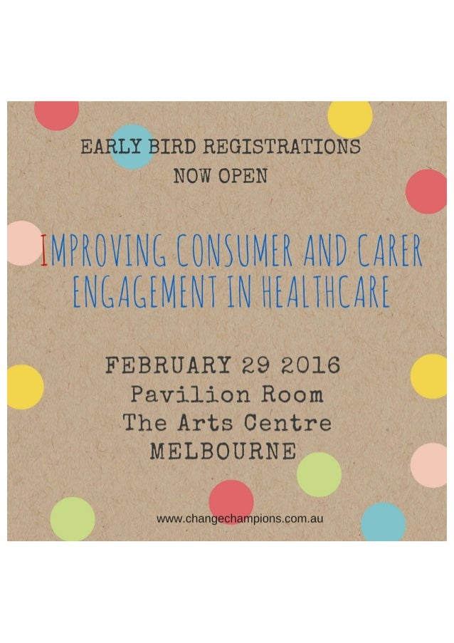 Improving Consumer and Carer Engagement in Health Care - registrations open