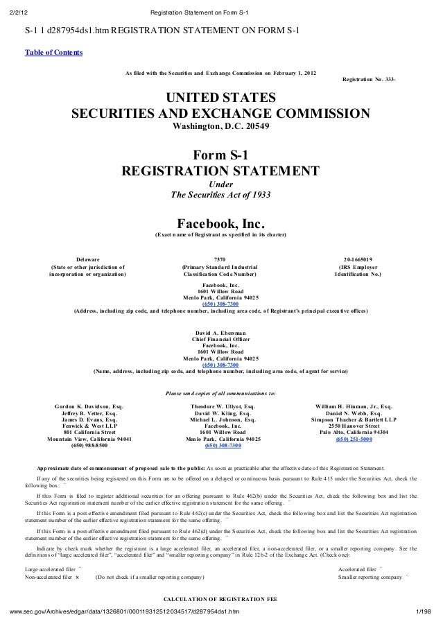 Facebook IPO : Registration Statement on Form S-1