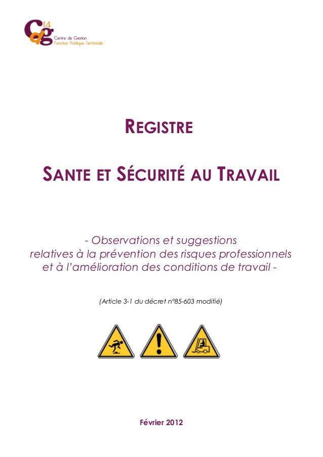 REGISTRE SANTE ET SÉCURITÉ AU TRAVAIL - Observations et suggestions relatives à la prévention des risques professionnels e...