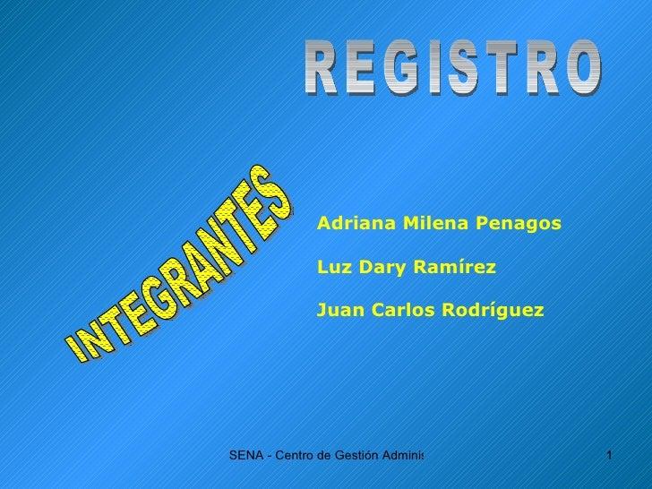 REGISTRO INTEGRANTES Adriana Milena Penagos Luz Dary Ramírez Juan Carlos Rodríguez