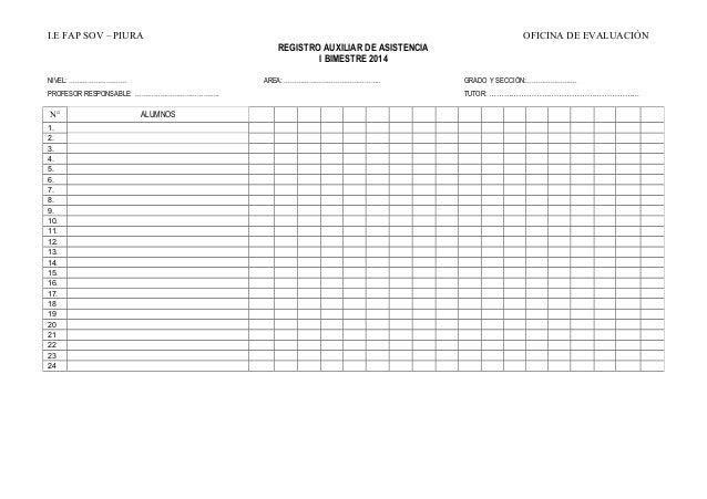 Registro auxiliar de asistencia 2014 for Oficina registro