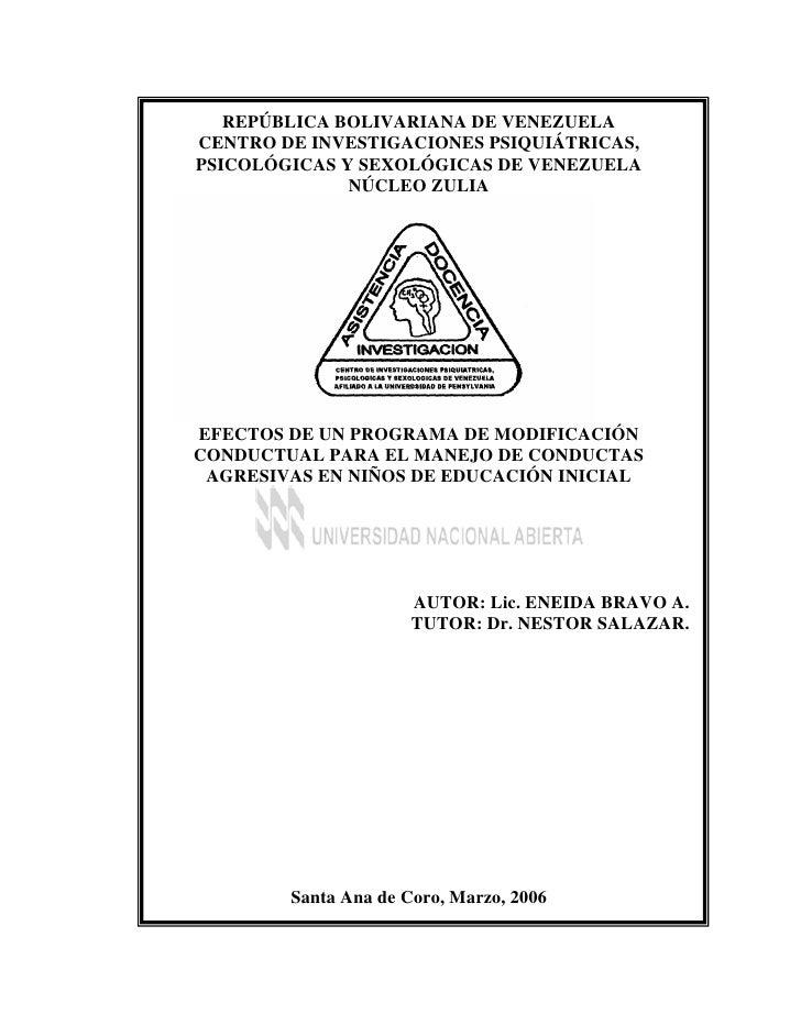 REPÚBLICA BOLIVARIANA DE VENEZUELACENTRO DE INVESTIGACIONES PSIQUIÁTRICAS,PSICOLÓGICAS Y SEXOLÓGICAS DE VENEZUELA         ...