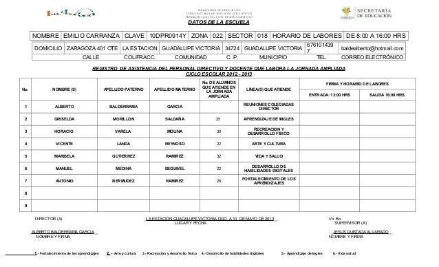 SECRETARÍA DE EDUCACIÓNSUBSECRETARÍA DE SERVICIOS EDUCATIVOSPROGRAMA ESCUELAS DE TIEMPO COMPLETODATOS DE LA ESCUELANOMBRE ...