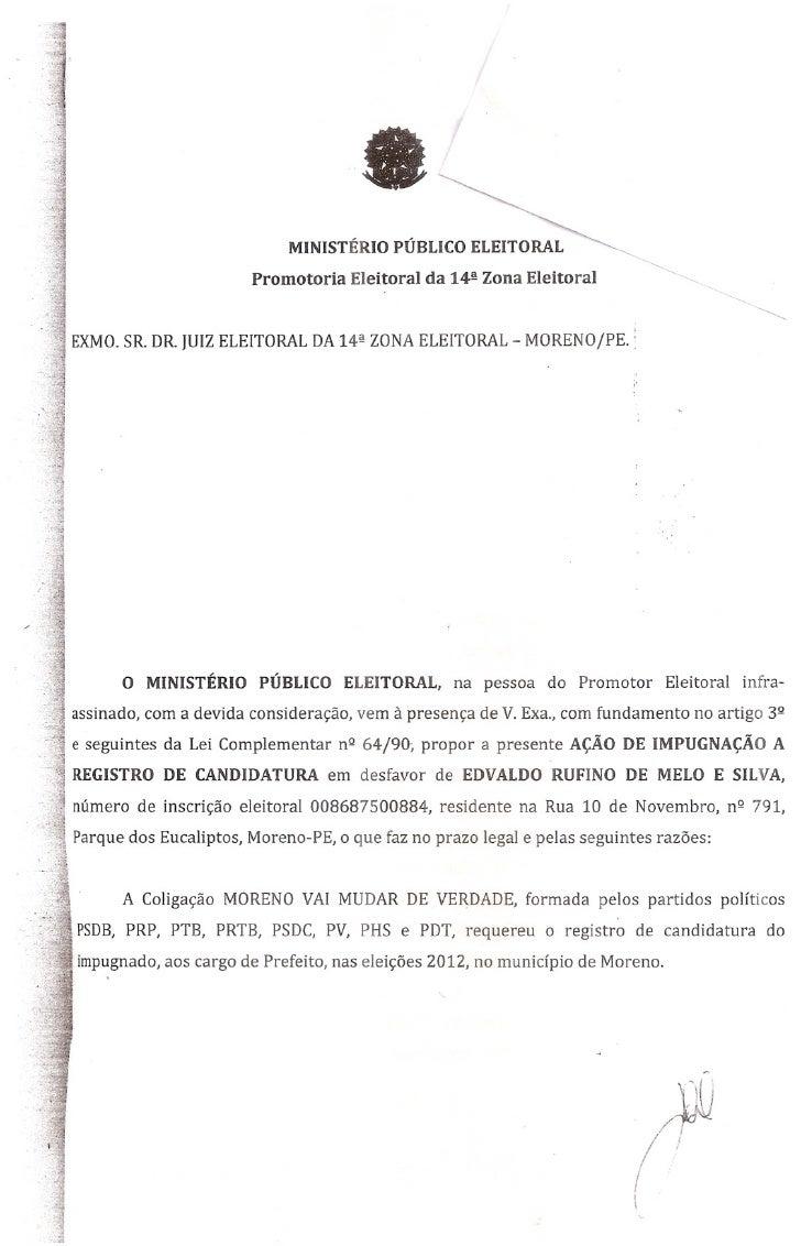 Ministério Público Eleitoral pede impugnação da candidatura de Vavá Rufino