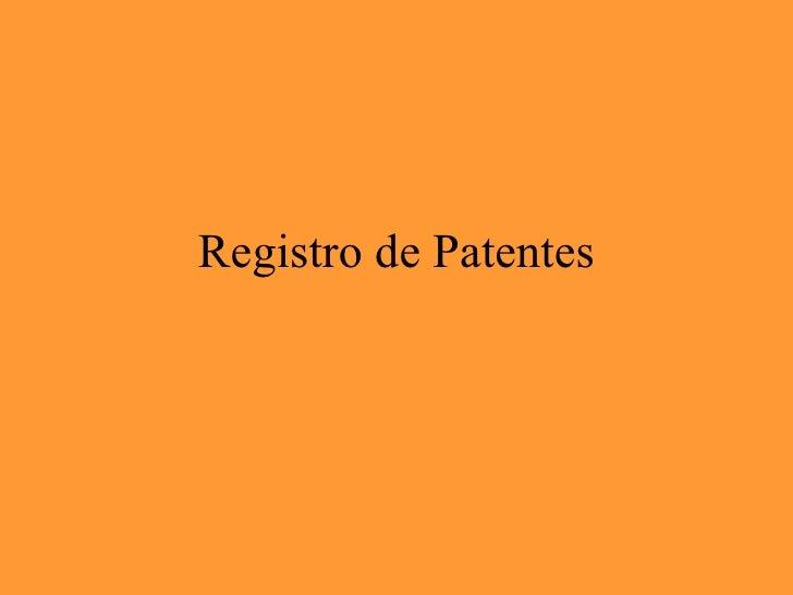 Registro de Patentes