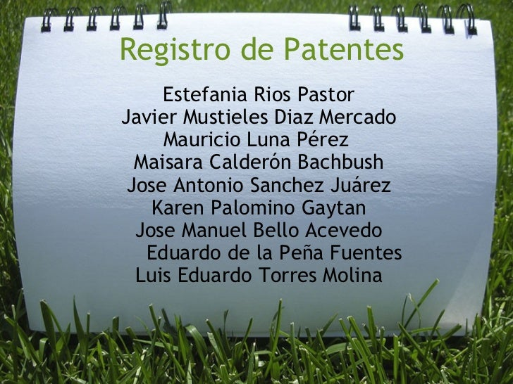 Registro de Patentes Estefania Rios Pastor Javier Mustieles Diaz Mercado Mauricio Luna Pérez MaisaraCalderónBachbush Jo...