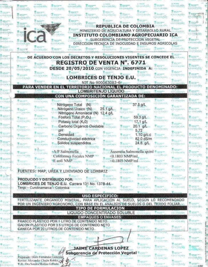 Registro ICA 6771 Humus Liquido