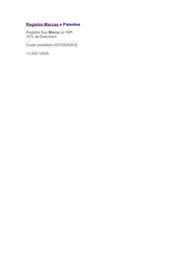 Registro Marcas e Patentes Registre Sua Marca no INPI 10% de Desconto! Couto podadera ADVOGADOS 11 2021 0005