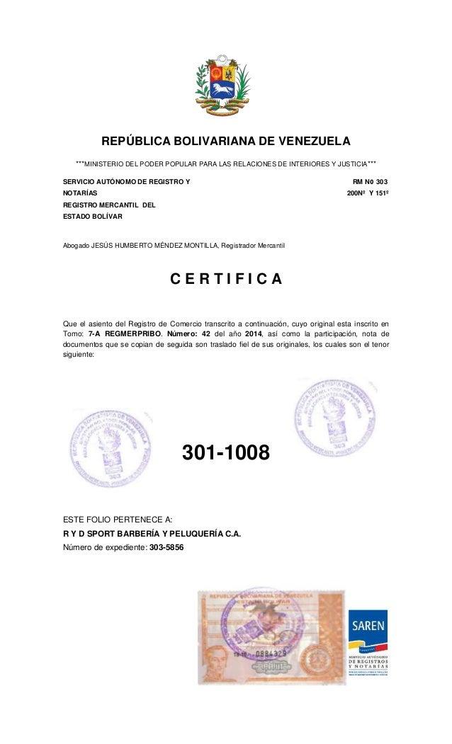 Registro mercantil de peluquer a for Donde queda el ministerio de interior y justicia