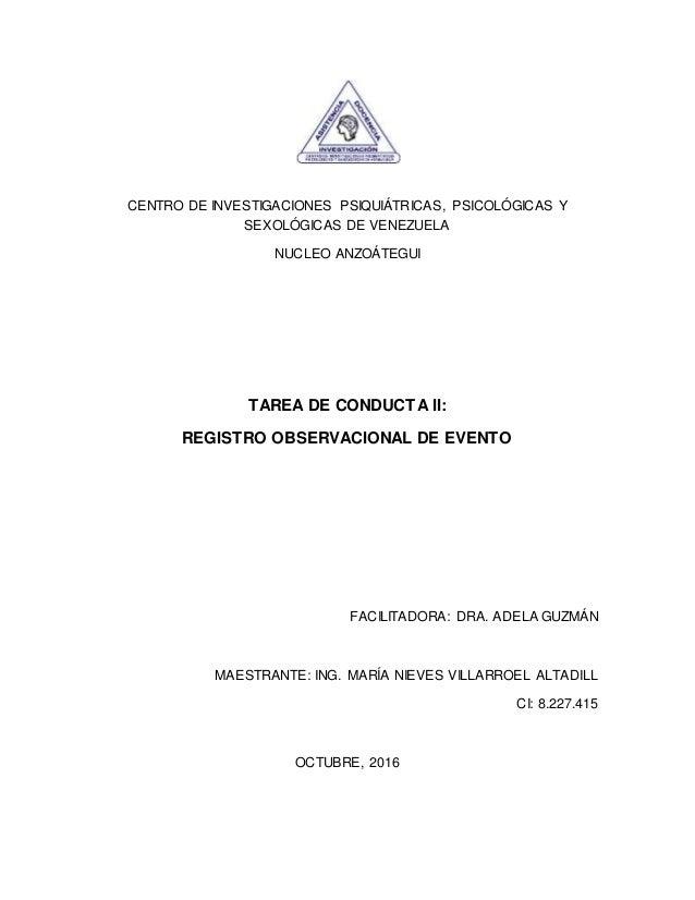 CENTRO DE INVESTIGACIONES PSIQUIÁTRICAS, PSICOLÓGICAS Y SEXOLÓGICAS DE VENEZUELA NUCLEO ANZOÁTEGUI TAREA DE CONDUCTA II: R...
