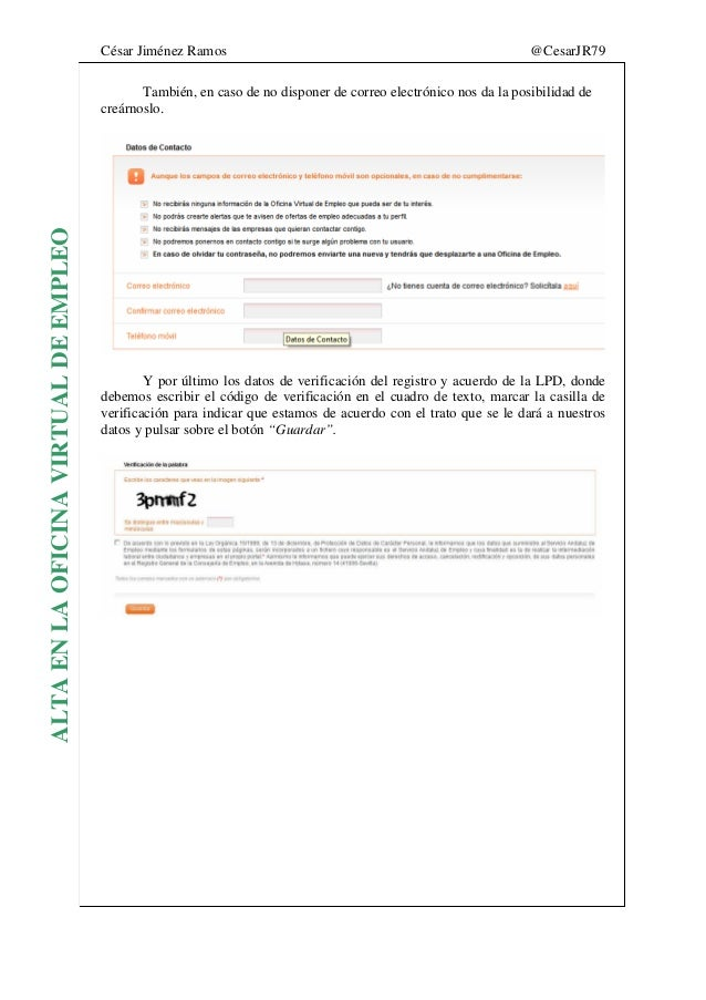 Manual registro oficina virtual de empleo for Oficina virtual demanda de empleo