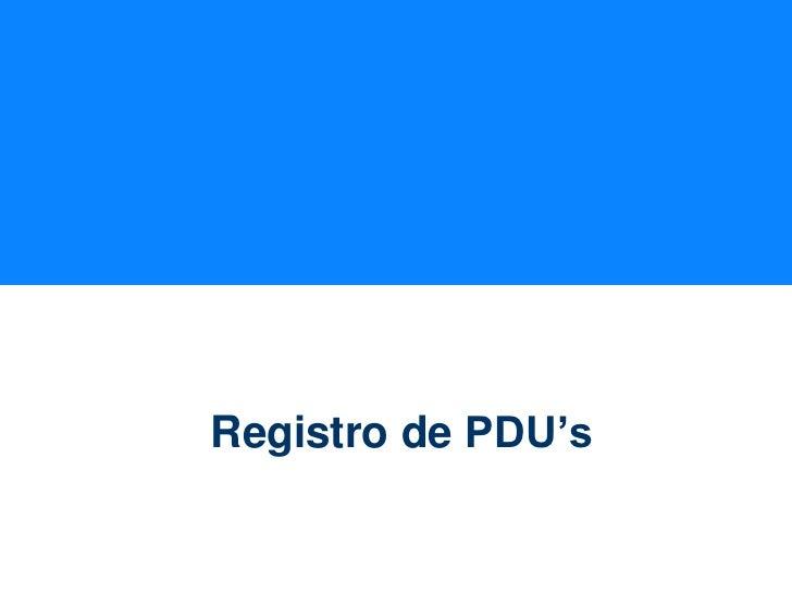 Registro de PDU's