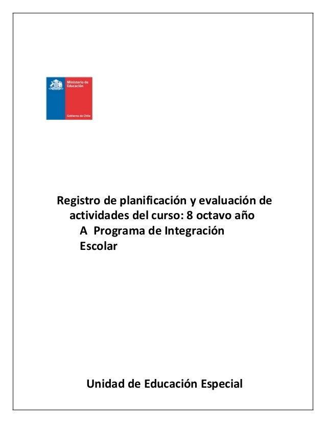 Registro de planificación y evaluación de actividades del curso: 8 octavo año A Programa de Integración Escolar Unidad de ...