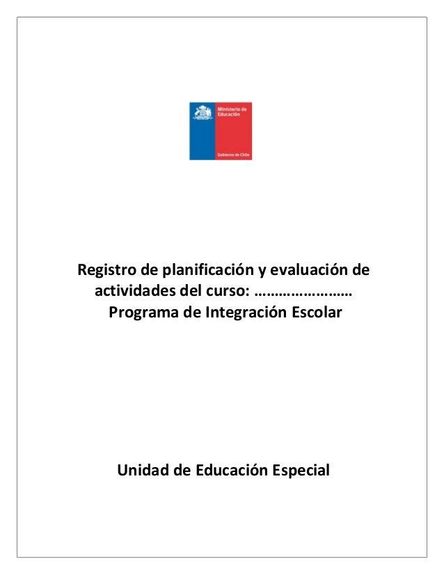 Registro de planificación y evaluación de actividades del curso: …………………… Programa de Integración Escolar Unidad de Educac...