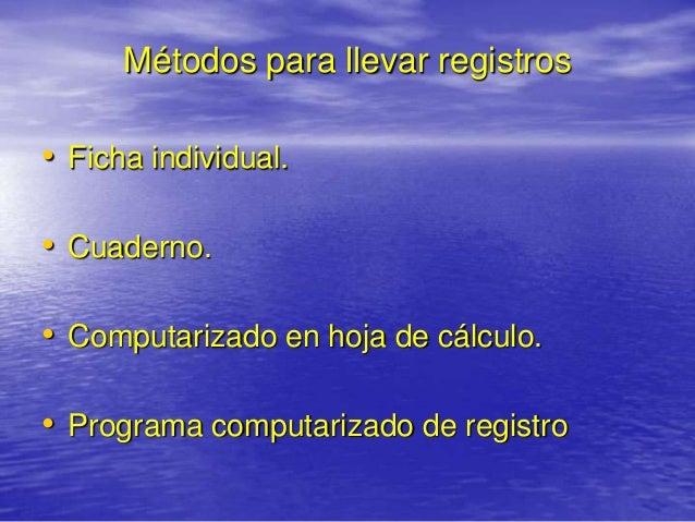 Métodos para llevar registros• Ficha individual.• Cuaderno.• Computarizado en hoja de cálculo.• Programa computarizado de ...
