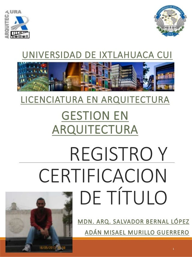 Registro y certificacion