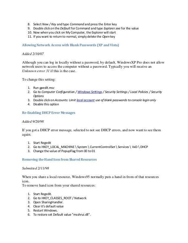 Windows Registry Tips & Tricks