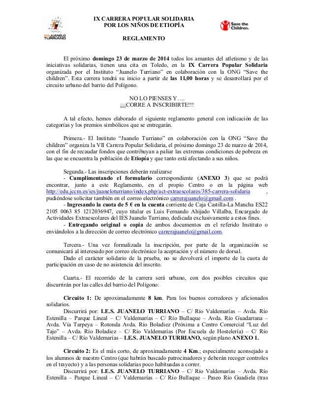 IX CARRERA POPULAR SOLIDARIA POR LOS NIÑOS DE ETIOPÍA REGLAMENTO  El próximo domingo 23 de marzo de 2014 todos los amantes...