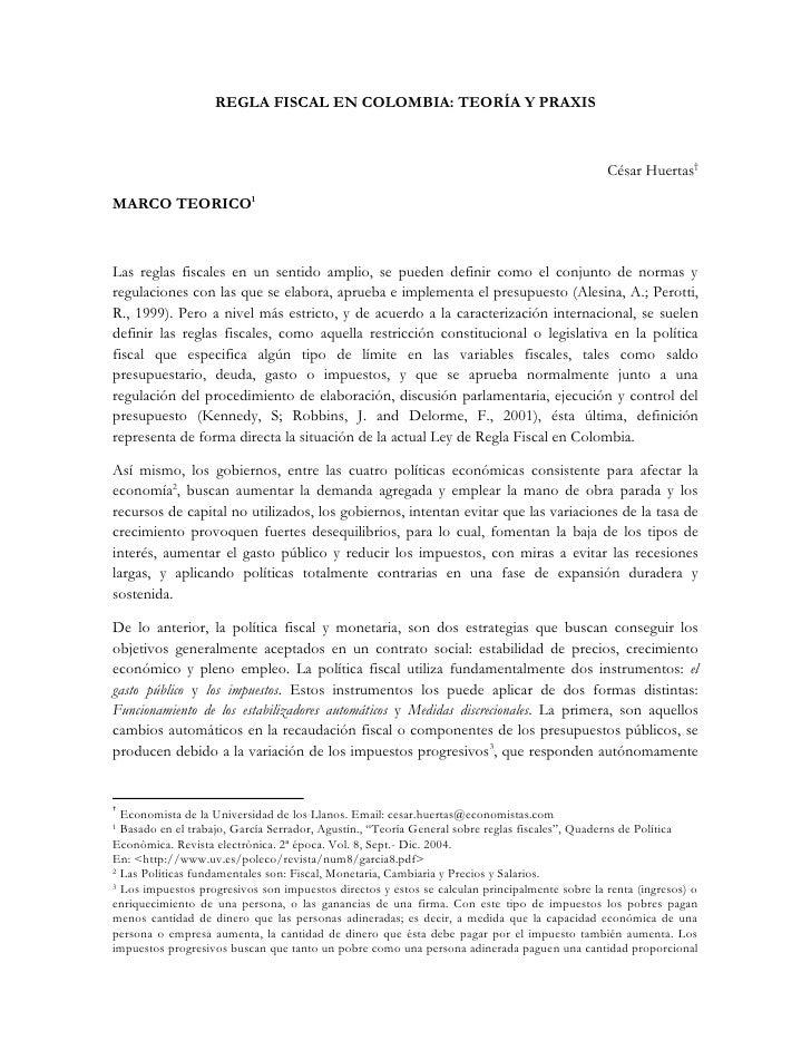 REGLA FISCAL EN COLOMBIA: TEORÍA Y PRAXIS                                                                                 ...