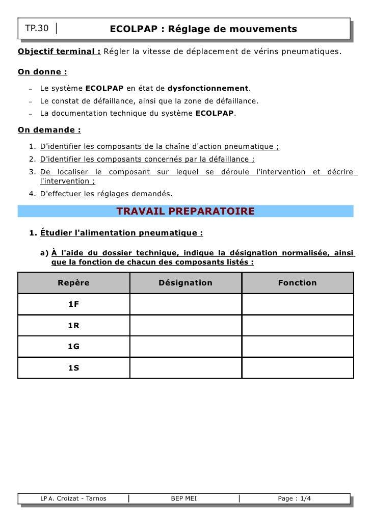 TP.30                        ECOLPAP : Réglage de mouvements  Objectif terminal : Régler la vitesse de déplacement de véri...